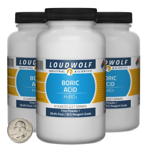 Boric Acid - 1.5 Pounds in 3 Bottles