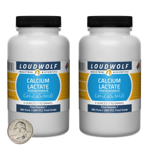 Calcium Lactate Pentahydrate - 12 Ounces in 2 Bottles