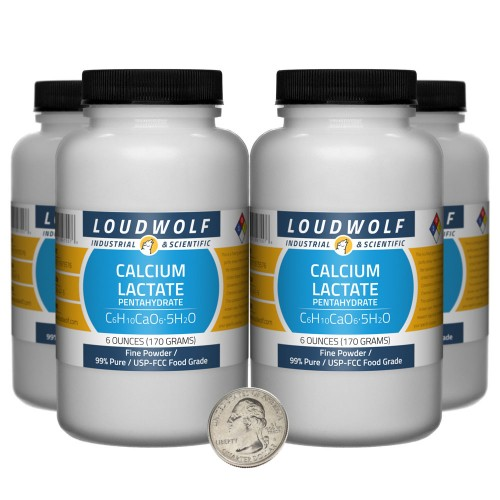Calcium Lactate Pentahydrate - 1.5 Pounds in 4 Bottles