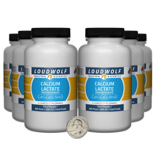 Calcium Lactate Pentahydrate - 2.3 Pounds in 6 Bottles