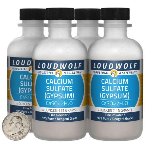 Calcium Sulfate (Gypsum) - 1 Pound in 4 Bottles