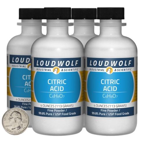 Citric Acid - 1 Pound in 4 Bottles