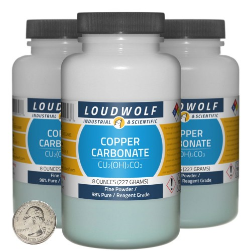 Copper Carbonate - 1.5 Pounds in 3 Bottles