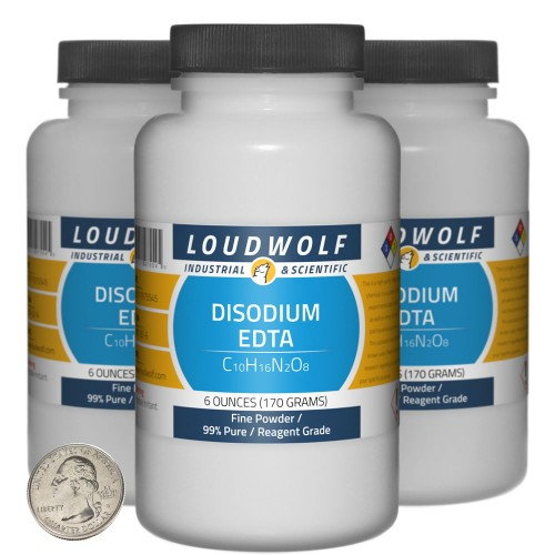 Disodium EDTA - 1.1 Pounds in 3 Bottles