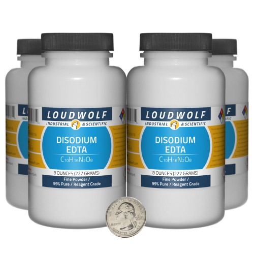 Disodium EDTA - 2 Pounds in 4 Bottles
