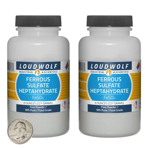 Ferrous Sulfate Heptahydrate - 1 Pound in 2 Bottles