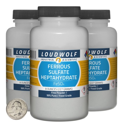 Ferrous Sulfate Heptahydrate - 1.5 Pounds in 3 Bottles