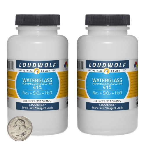 Sodium Silicate Solution Waterglass - 1 Pound in 2 Bottles