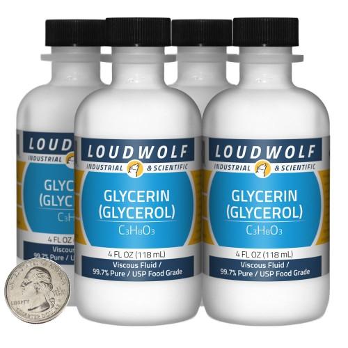 Glycerin (Glycerol) - 16 Fluid Ounces in 4 Bottles