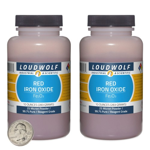 Red Iron Oxide - 1.3 Pounds in 2 Bottles