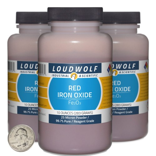 Red Iron Oxide - 1.9 Pounds in 3 Bottles