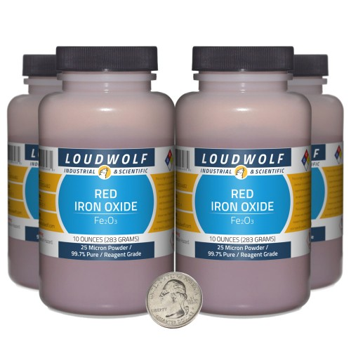 Red Iron Oxide - 2.5 Pounds in 4 Bottles