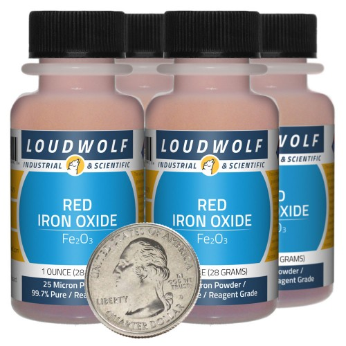 Red Iron Oxide - 4 Ounces in 4 Bottles