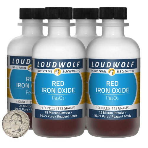 Red Iron Oxide - 1 Pound in 4 Bottles