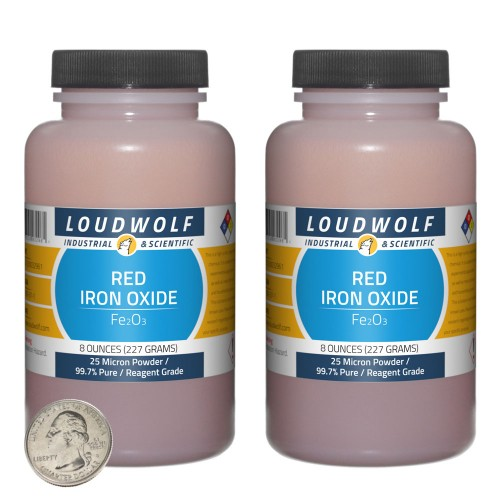 Red Iron Oxide - 1 Pound in 2 Bottles
