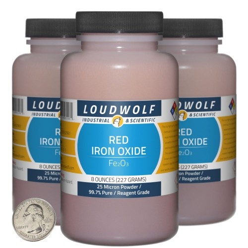Red Iron Oxide - 1.5 Pounds in 3 Bottles
