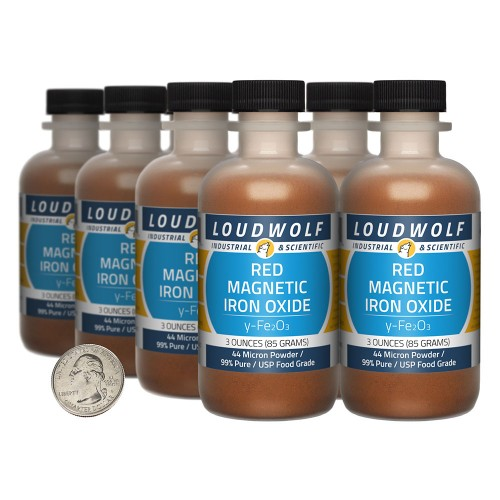 Red Magnetic Iron Oxide - 1.5 Pounds in 8 Bottles