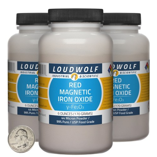 Red Magnetic Iron Oxide - 1.1 Pounds in 3 Bottles