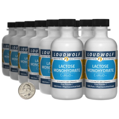 Lactose Monohydrate - 2.3 Pounds in 12 Bottles