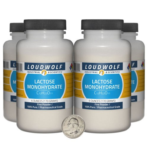 Lactose Monohydrate - 1.5 Pounds in 4 Bottles