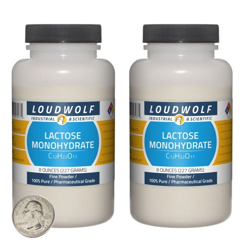 Lactose Monohydrate - 1 Pound in 2 Bottles