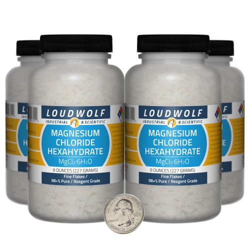 Magnesium Chloride Hexahydrate - 2 Pounds in 4 Bottles