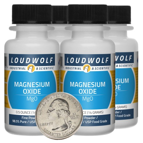 Magnesium Oxide - 2 Ounces in 4 Bottles