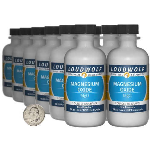 Magnesium Oxide - 2.3 Pounds in 12 Bottles