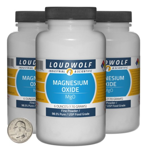 Magnesium Oxide - 1.1 Pounds in 3 Bottles