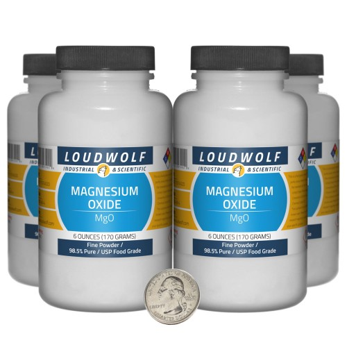 Magnesium Oxide - 1.5 Pounds in 4 Bottles