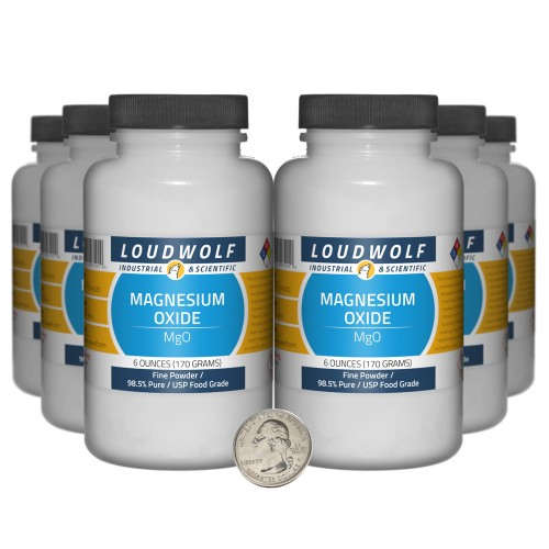 Magnesium Oxide - 2.3 Pounds in 6 Bottles