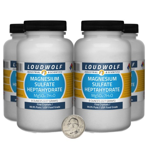 Magnesium Sulfate Heptahydrate - 2 Pounds in 4 Bottles