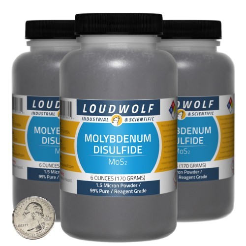 Molybdenum Disulfide - 1.1 Pounds in 3 Bottles
