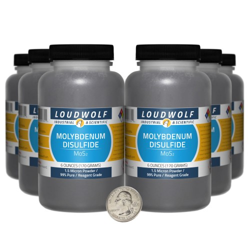 Molybdenum Disulfide - 2.3 Pounds in 6 Bottles
