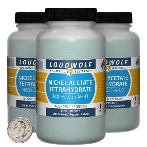 Nickel Acetate Tetrahydrate - 1.5 Pounds in 3 Bottles