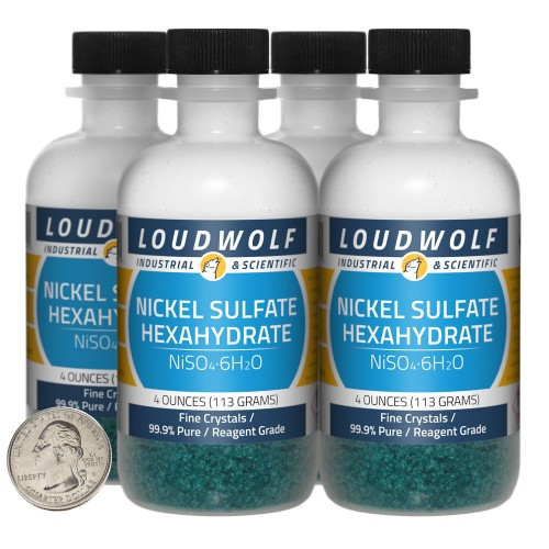 Nickel Sulfate Hexahydrate - 1 Pound in 4 Bottles