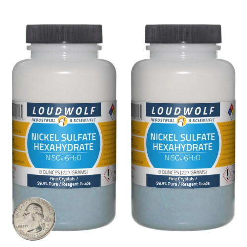 Nickel Sulfate Hexahydrate - 1 Pound in 2 Bottles