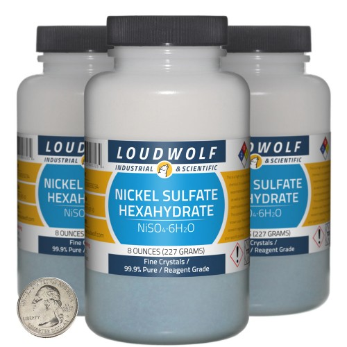 Nickel Sulfate Hexahydrate - 1.5 Pounds in 3 Bottles