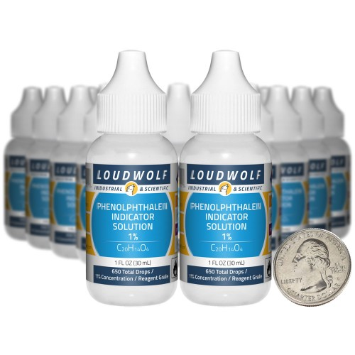 Phenolphthalein Indicator Solution 1%  - 20 Fluid Ounces in 20 Bottles