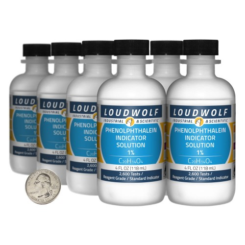 Phenolphthalein Indicator Solution 1%  - 32 Fluid Ounces in 8 Bottles