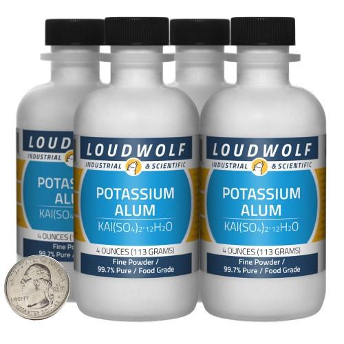 Potassium Alum - 1 Pound in 4 Bottles