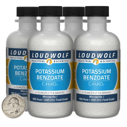 Potassium Benzoate - 1 Pound in 4 Bottles