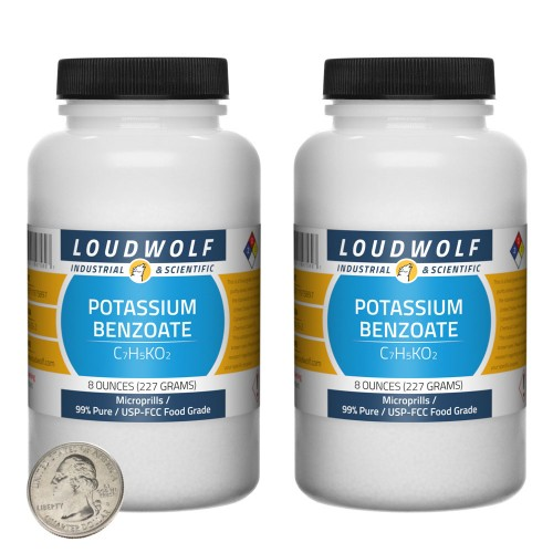 Potassium Benzoate - 1 Pound in 2 Bottles