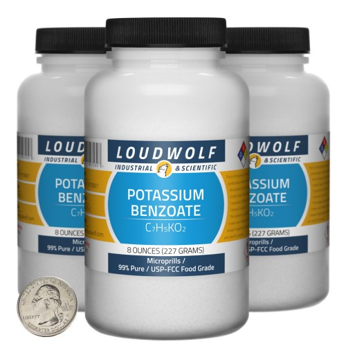 Potassium Benzoate - 1.5 Pounds in 3 Bottles