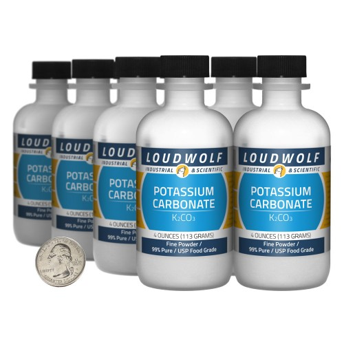 Potassium Carbonate - 2 Pounds in 8 Bottles