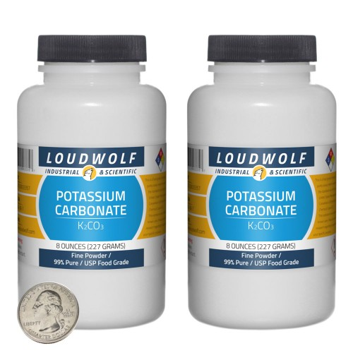 Potassium Carbonate - 1 Pound in 2 Bottles