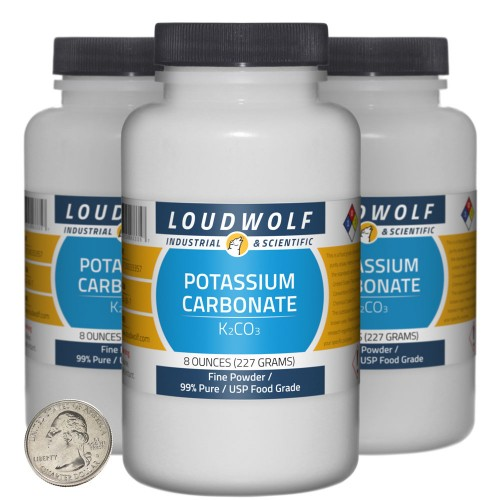 Potassium Carbonate - 1.5 Pounds in 3 Bottles