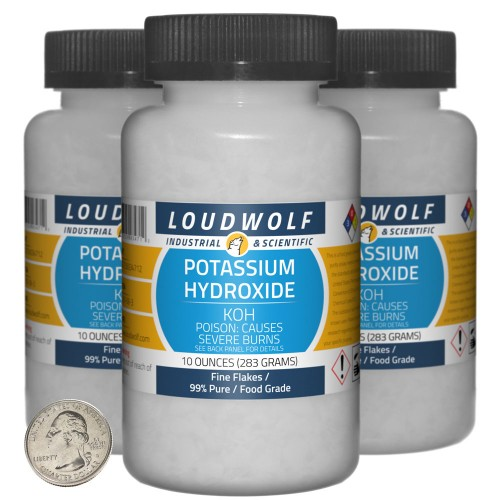Potassium Hydroxide - 1.9 Pounds in 3 Bottles