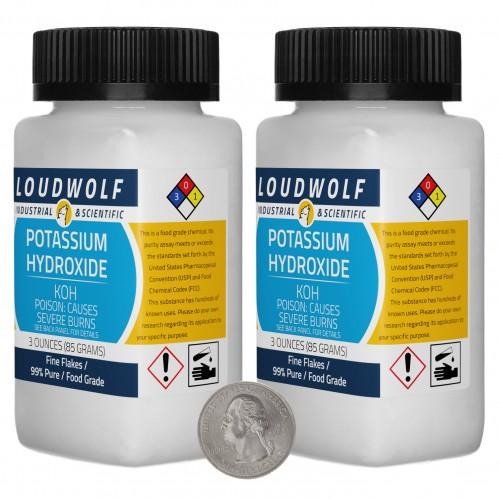Potassium Hydroxide - 6 Ounces in 2 Bottles