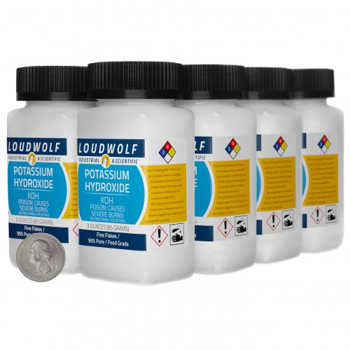 Potassium Hydroxide - 1.5 Pounds in 8 Bottles